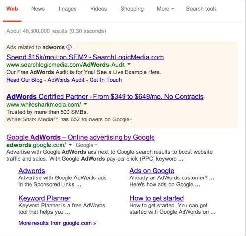 Google search results ads 2014
