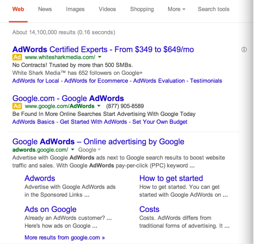 Google search results ads from March 2014