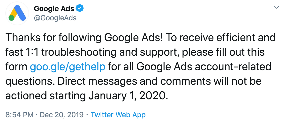 Google Support Social Announcement